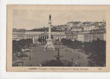 Lisboa Portugal Praca de D Pefro IV e Theatro Nacional Vintage Postcard 061b