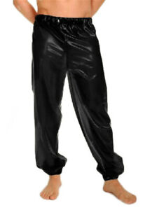 Gummi rubber 100%Latex PantsCosplay Party Club Black Loose Casual Trousers S-XXL