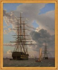 The Russian Ship of the Line Asow at Anchor Eckersberg Schiff Meer B A1 01169