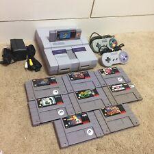 Super Nintendo SNES Console System Lot 9 Games, Mario, Tetris, Frogged, R-type++