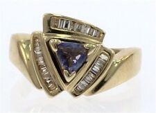 Genuine Tanzanite and Diamond Ladies Ring in 14kt Yellow Gold