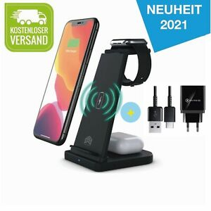 3 in 1 Wireless Charger Ladestation Ladegerät für iPhone / Apple Watch / SCHWARZ