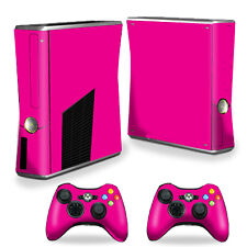 Skin Decal Wrap Cover for Xbox 360 S Slim + 2 controllers Solid Hot Pink