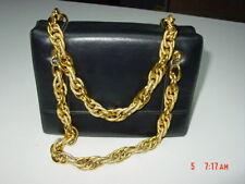 Vintage Miss Lewis Black Handbag Purse Mirror Comb Gold Heavy Gold Linked Handle