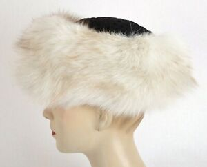 U51 AMAZING BLUE FOX FUR HAT CAP WINTER HAT PERSIAN LAMB TRIM - BLAUFUCHS MÜTZE