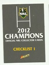 2012 NRL SELECT CHAMPIONS CHECKLIST #1 CARD FREE POST