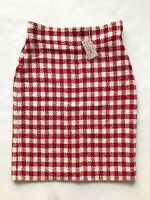 """Vintage 1980s Check Wool Pencil Skirt -Size 12 W30"""" Red Cream Pattern Bold Chic"""