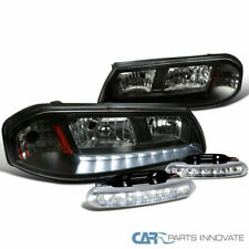 00-05 Chevy Impala Black LED Headlights Headlamps+Clear 6-LED Fog Lights