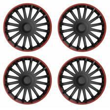 4 x Radkappen Radzierblenden 15 Zoll schwarz rot von Versaco Typ CRYSTAL RO