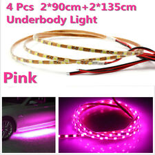 4pcs Pink LED Neon Strip Under Car Glow Light Tube Undercar Underbody Underglow