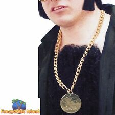 Gold Metal Medallion on Chain Adult Mens Smiffys Fancy Dress Costume Accessory
