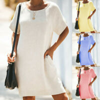 Women's Cotton Linen O-Neck Short Sleeve Dress Pockets Loose Solid Mini Dresses