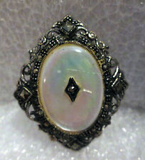 Mother of Pearl Marcasite vintage victorian style Brooch Pin Sterling Silver