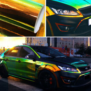 1.35Mx20CM Holographic Laser Black Chrome Iridescent Vinyl Film Car Wrap DIY