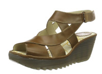 Fly London YONA CAMEL Tan Strappy Leather Lace up Wedge  Sandal US 8-8.5 EU 39