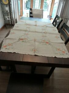 Vintage Hungarian Hand Embroidered Rectangular Tablecloth
