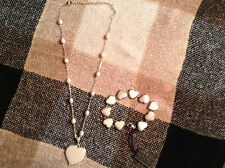 Honora Sterling Mother-Of-Pearl Heart Necklace W/Matching bracelet