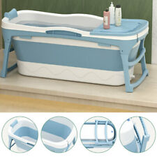 More details for folding bathtubs shower bath water tub spa sauna soaking with cover lid blue uk