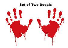 Two Custom Vinyl Bloody Zombie Hands Car Window Decal / Sticker