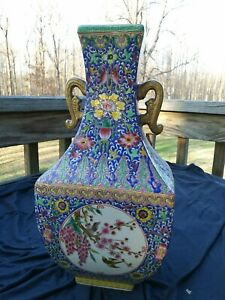 "13"" Chinese Porcelain Rounded Square section two-handled bottle Vase"