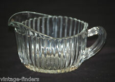 Queen Mary Clear by Anchor Hocking Ribbed Depression Creamer w Starburst Center