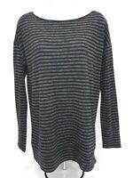 Women's Medium Gray/Black Striped Ann Taylor Loft Knit Top