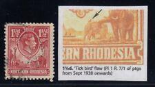 "Northern Rhodesia, SG 29b, used ""Tick Bird Flaw"" variety"