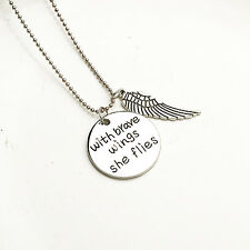 With Brave Wings She Flies Round Vintage Pendant Silver Wings Necklace