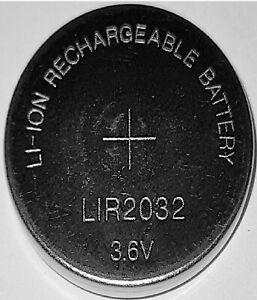 1 x LIR2032 Li-Ion Rechargeable 3,6V Akku Knopfzelle CR2032 wiederaufladbar Euni