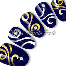 Nail Art Water Transfers Stickers Wraps Decals Swirl Metallic Silver/Gold C094
