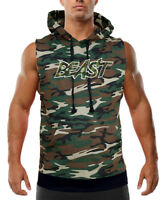 Men's Camo Beast Camo Sleeveless Vest Hoodie Workout Fitness Gym Powerlifting