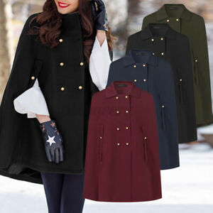 UK 8-24 Womens Batwing Cloak Cape Coat Loose Poncho Jacket Outerwear Tops Plus