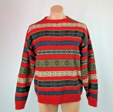 cc01200315 Ralph Lauren Chaps VTG 90s Lambswool Handframe All Over Print Large Red  Nordic