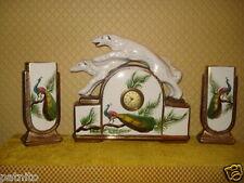 Ancienne pendule avec cassolettes faience Art déco. Old clock pendulum.Alte Uhr