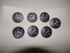 7 pieces Buttons Egyptian Ramses Ii Pharaoh Archer War Chariot Alloy Metal
