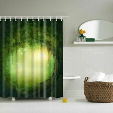 Polyester 12 Curtain Green Fabric Waterproof Hook Bathroom Shower Tree Hole