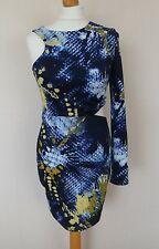 ASOS Navy Blue Yellow White Abstract Print Cut Out Bodycon Dress Size 10 Perfect