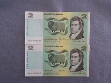 1979 KNIGHT / STONE CONSECUTIVE PAIR OF UNCIRCULATED AUSTRALIA 2 DOLLAR NOTES