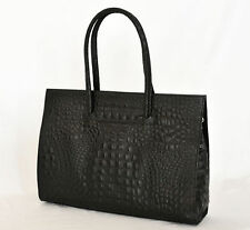Damen-Shopper/- Umwelttaschen aus Leder mit Kroko-Prägung