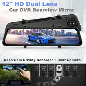 "12"" HD 1080P Dual Lens Car DVR Rearview Mirror Dash Cam Recorder+Rear Camera Kit"
