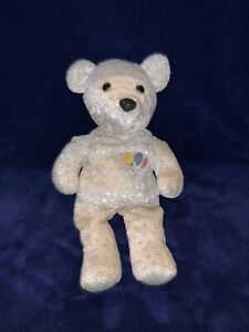 """SALVINO'S BABY BAMMERS ~ 12"""" WHITE TEDDY BEAR PLUSH ~ Embroidered Balloons ~"""