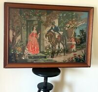 Huge Beautiful Antique Needlepoint Canvas Tapestry Victorian couple love Framed