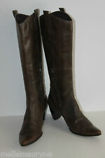 Bottes Pointues PERLATO Cuir Marron Taupe T 41 BE