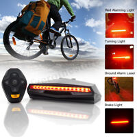 Bicycle Bike 5 LED Rear Tail Light USB Wireless Remote Control Turn Signals Lamp