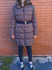 Zara piumino donna lungo marrone con cintura di metallo