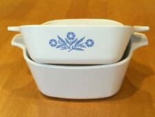 Two Corning Ware dishes Blue Cornflower and plain white small, P-41-B, P-43-B