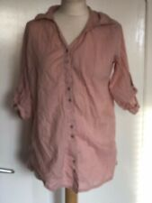 NEXT, UK 14, PINK STRIPED LONG SLEEVE COLLARED SHIRT, PRE-LOVED, 100% COTTON
