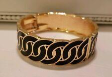 Black And Gold Enamel Hinged Cuff Bracelet
