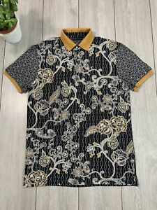 ETRO Mens Floral Print Polo Shirt Top | Small S | Black - Made in Italy