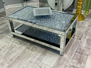 New Diamond Double Tiered Crushed Crystal Mirrored 2 Tier Coffe Table Sparkle
